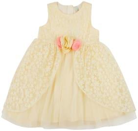 Pantaloons Junior Yellow Polyester Sleeveless Knee Length Princess Frock ( Pack of 1 )