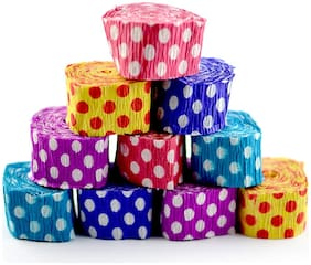 Paper Crepe Streamer Polka Dot Roll Ribbon for Party Decoration (Multi-Color) - Pack of 12