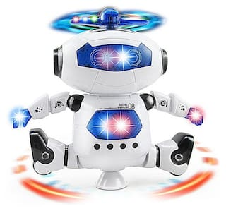 Parteet Naughty Dancing Robot with Flashing Ligths and Music (360 Degree Rotate) for Kids