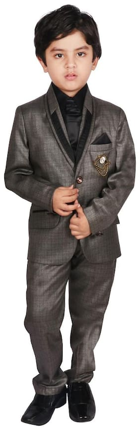 SGYUVRAJ Boy Silk Solid Ethnic jacket - Grey