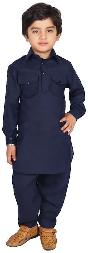 SGYUVRAJ Boy Cotton Solid Kurta pyjama set - Blue