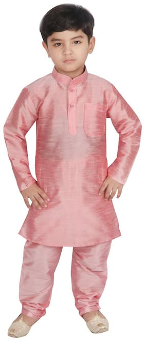 SGYUVRAJ Boy Raw silk Solid Kurta pyjama set - Pink