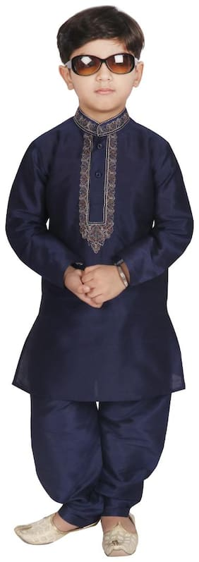 SGYUVRAJ Boy Raw silk Solid Kurta pyjama set - Blue
