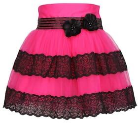 Cutecumber Girl Blended Striped Flared Skirt Skirt - Pink