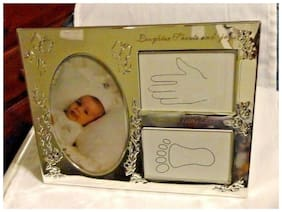 Pearhead Babyprints Hand & Foot Prints Silver Baby Photo Frame