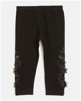 Peek a boo zoo Girl Cotton blend Trousers - Black