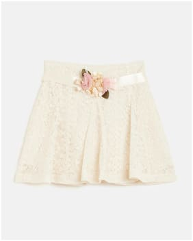 Peek a boo zoo Girl Net Embroidered A- line skirt - Cream