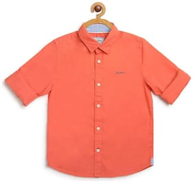 Pepe Jeans Boy Cotton Solid Shirt Orange