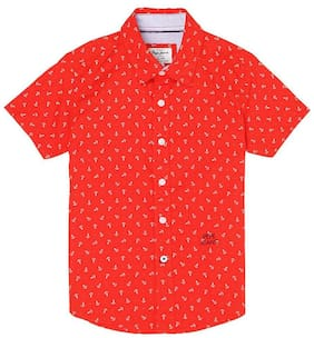 Pepe Jeans Boy Cotton Printed Shirt Red