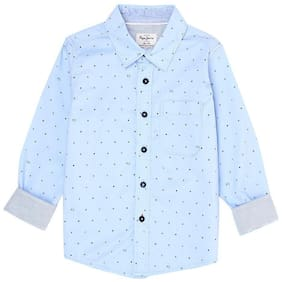 Pepe Jeans Boy Cotton Printed Shirt Blue