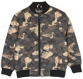 Pepe Jeans Boy Polyester Printed Winter jacket - Green