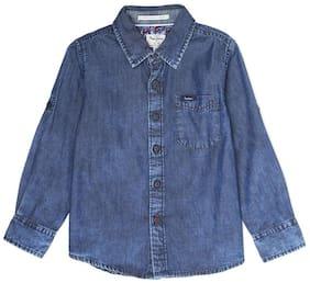 Pepe Jeans Boy Denim Solid Shirt Blue