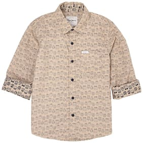 Pepe Jeans Boy Cotton Printed Shirt Brown