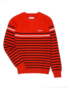 Pepe Jeans Boy Cotton Striped Sweater - Red