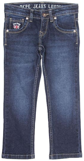 Pepe Jeans Boys Blue Solid Casual Jeans