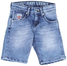 Pepe Jeans Boys Blue Solid Shorts (Blue)