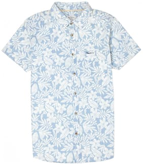 Pepe Jeans Boy Cotton Floral Shirt Blue