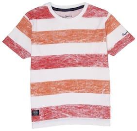 Pepe Jeans Boy Cotton Striped T-shirt - Orange