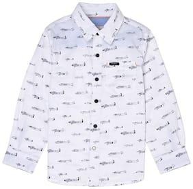 Pepe Jeans Boy Cotton Printed Shirt White