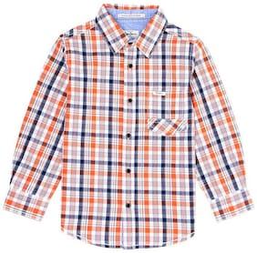 Pepe Jeans Boy Cotton Checked Shirt Orange