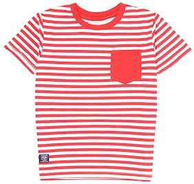 Pepe Jeans Boy Cotton Striped T-shirt - Red & White