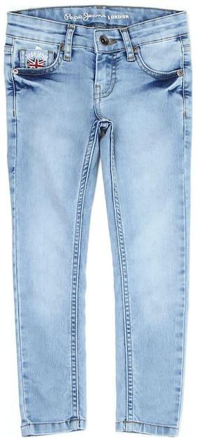 Pepe Jeans Blue Solid Clean Look Denim Girls Jean