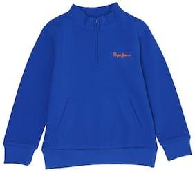 Pepe Jeans Boy Cotton Solid Sweatshirt - Blue
