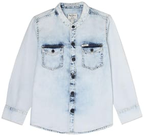 Pepe Jeans Boy Cotton Solid Shirt Blue