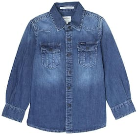 Pepe Jeans Boy Denim Solid Shirt Blue