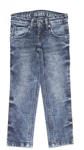 Pepe Jeans Boys Blue Solid Jeans (Blue)