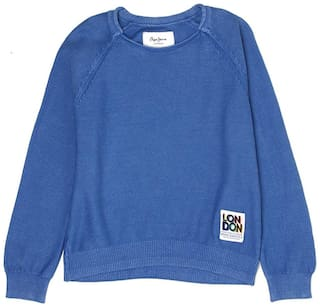 Pepe Jeans Boy Cotton blend Solid Sweater - Blue