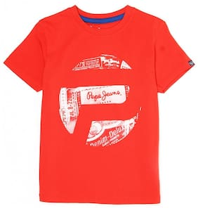 Pepe Jeans Boy Cotton Printed T-shirt - Red