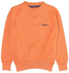 Pepe Jeans Boy Cotton blend Solid Sweater - Orange
