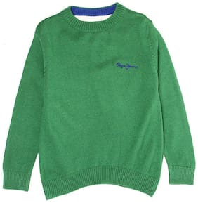 Pepe Jeans Boy Acrylic Solid Sweater - Green