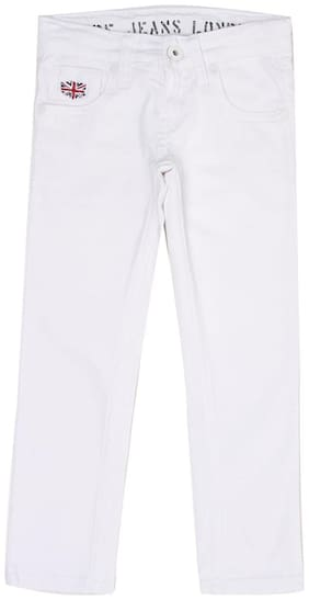 Pepe Jeans Boys White Solid Jeans (White)