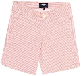 Pepe Jeans Boys Red Self Design Shorts (Red)