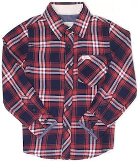 Pepe Jeans Boy Cotton Checked Shirt Maroon