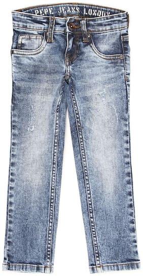 Pepe Jeans Blue Solid Mild Distress Denim Boys Jeans
