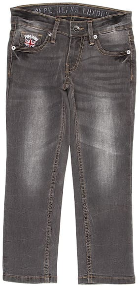 Pepe Jeans Boys Solid Grey Used Jeans