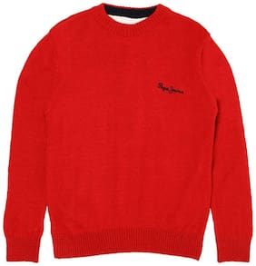 Pepe Jeans Boy Acrylic Solid Sweater - Red