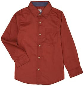 Pepe Jeans Boy Cotton Solid Shirt Maroon