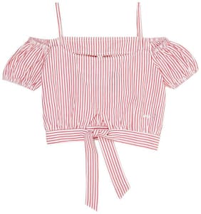 Pepe Jeans Girl Cotton Striped Top - Red