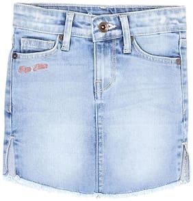 Pepe Jeans Girl Denim Solid Straight skirt - Blue