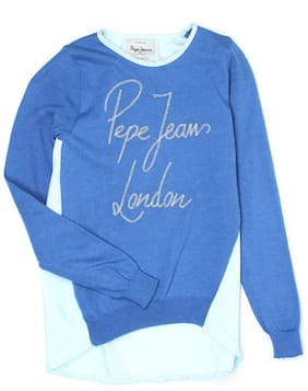 Pepe Jeans Girls Casual Winter Wear Pullover Blue
