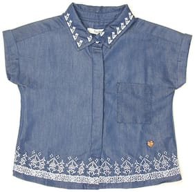 Pepe Jeans Girl Cotton Self design Shirt - Blue