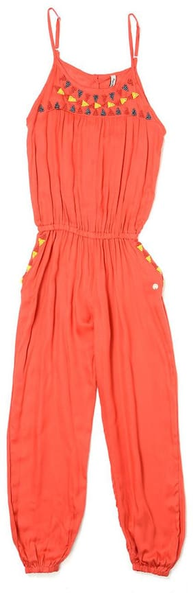 Pepe Jeans Cotton Embellished Dungaree For Girl - Orange