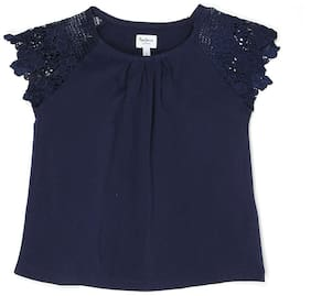 Pepe Jeans Girl Cotton blend Solid Top - Blue