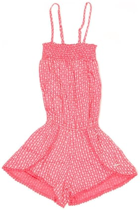 Pepe Jeans Cotton Printed Romper For Girl - Pink