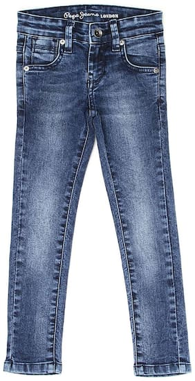 Pepe Jeans Girls Solid Blue Casual Jeans