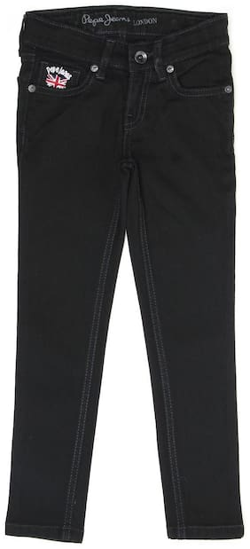 Pepe Jeans Girls Solid Black Casual Jeans